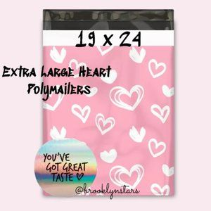 Extra Large Heart Polymailers with bonus stickers